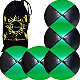 5x Pro Thud Juggling Balls Deluxe (Leather) Professional Juggling Ball Set Of 5 + Fabric Travel Bag! (Black/Green)