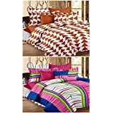 Story@Home 120 TC 100% Cotton Set Of 2 Double Bedsheet With 4 Pillow Cover Coffee & Navy Blue