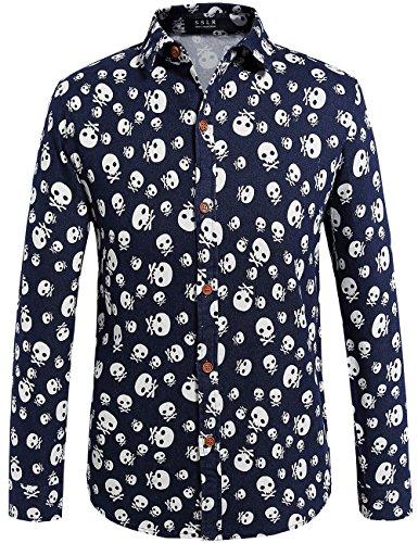 Sslr men 39 s long sleeve skull denim shirt the men shirts for How to hand wash white shirt