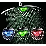 DreamSpa AquaFan 12 Inch All Chrome Rainfall LED Shower Head With  Color Changing LED/LCD Temperature Display