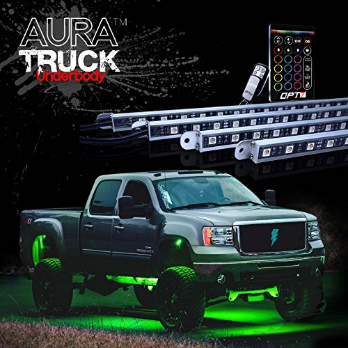 OPT7® Aura LED Glow Truck/SUV Underbody Lighting Kit – Full Color Spectrum – 4 Smart-ColorTM Strips – Aluminum Build – E-Z Remotes