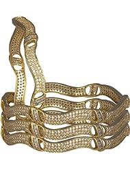 Bagga Jewels Golden Coloured Copper Bangle Set For Women(Pack Of 4) (BAG-Style10)