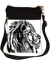 Snoogg Sketch Of A Big Male African Lion Vector Illustration Cross Body Tote Bag / Shoulder Sling Carry Bag