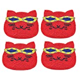 Christmas Gifts Set Of Quirky 4 Red Cat Shaped Coasters For Beer / Wine, Glass, Tea, Coffee, Housewarming Beverage...