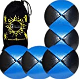 5x Pro Thud Juggling Balls Deluxe (Leather) Professional Juggling Ball Set Of 5 + Fabric Travel Bag! (Black/Blue)