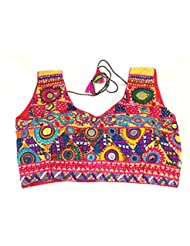 Megh Craft Women Party Wear Sleeveless Blouse - Readymade Kutch Embroidered With Mirror Work Blouse