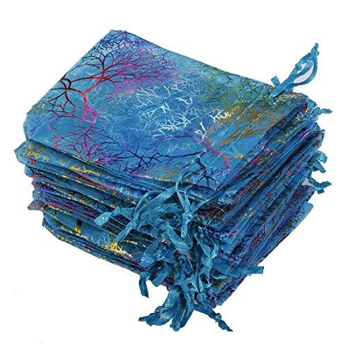 100 pcs Coralline Blue Organza Gift Bag appr 3.8 X 4.7