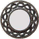 Ghanshyam Art Wood Round Wall Mirror (30.48 Cm X 4 Cm X 30.48 Cm, GAC096)