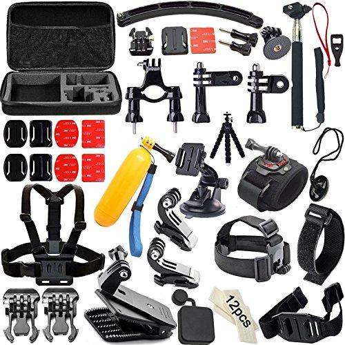 Accessoire pour Gopro,Soft Digits 50 en 1 Kit d'Accessoire pour Gopro 5 4 3+ 3 2 1, Accessoires Bundle pour SJ4000 SJ5000 SJ6000 Xiaomi Yi, Accessoire...