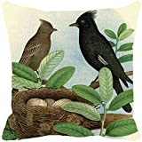 Leaf Designs - Black And Brown Bird Cushion Cover