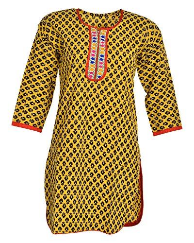 Global Women's Cotton Straight Kurta (GW66YellowB40015, Yellow, 40)
