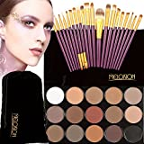 MagiDeal Women Girls Cosmetic Beauty Tools Eye Makeup 15 Assorted Color 15-Color Eyeshadow Palette+20Pcs/Set Eyebrow Lip Makeup Brushes Purple Gold