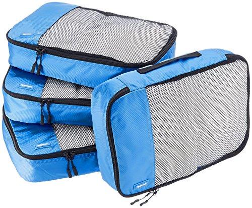 AmazonBasics Lot de 4sacoches de rangement pour bagage TailleM, Bleu