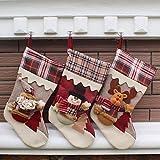 Generic Snowman : New Year Christmas Stockings Socks Plaid Santa Claus Candy Gift Bag Xmas Tree Hanging Ornament...