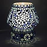 EarthenMetal Handcrafted Blue Coloured Crystal Dome Shaped Glass Table Lamp- (24 Cm Height)