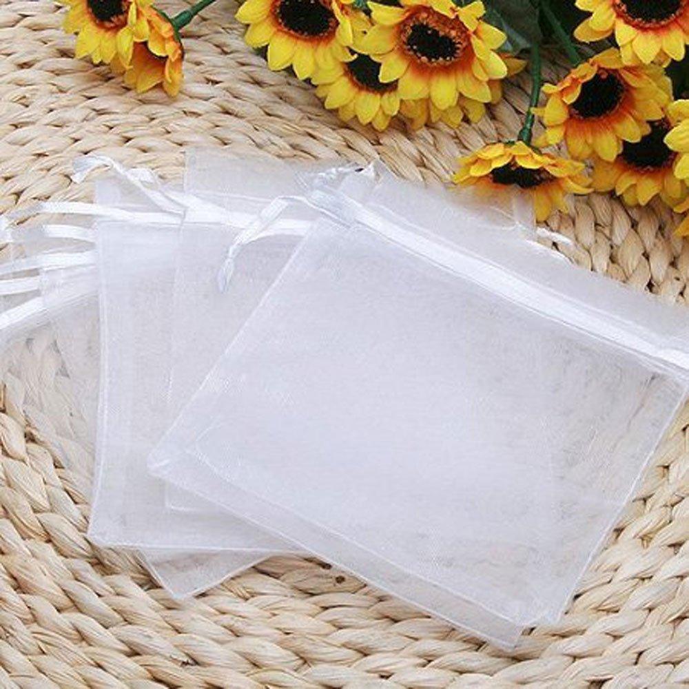 white drawstring organza pouch