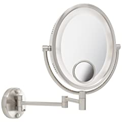 Jerdon HL9515N 8-Inch Two-Sided Swivel Oval Halo Lighted Wall Mount Mirror with 10x and 15x Magnification, 14-Inch Extension, Nickel Finish