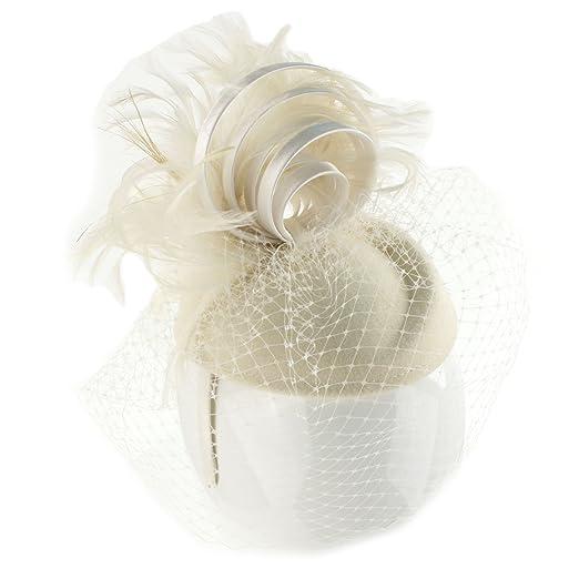 Fancy Wool Swirl Ribbon Feathers Veil Headband Fascinator Cocktail Hat Cap