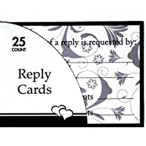 Celebration Black and White Reply Cards and Envelopes 4 x 3-Inches 25 Cards per Pack (1603)