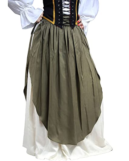 e8b243461b921 Renaissance Medieval Pirate Peasant Wench Costume Layered Olive Green Over  White Skirts by ThePirateDressing