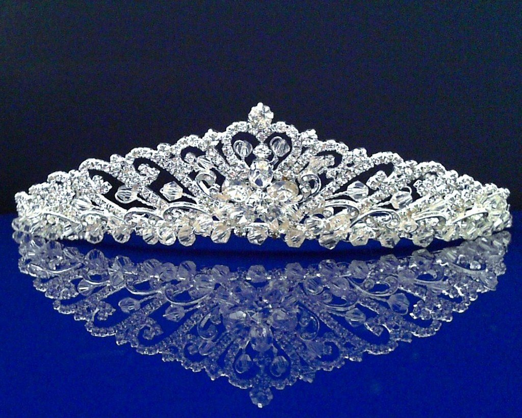 Bridal Wedding Tiara Crown With Crystal Flowers