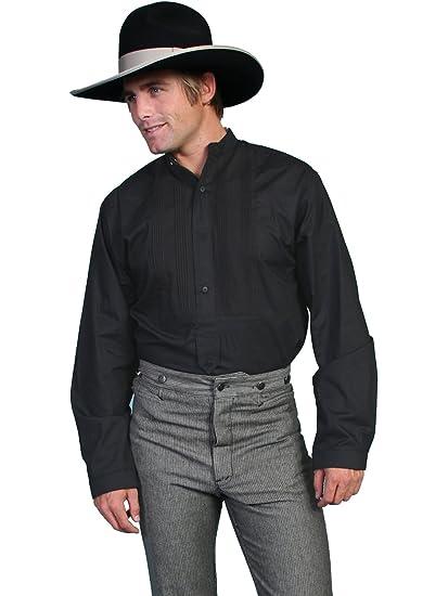 Victorian Men's Shirts- Wingtip, Gambler, Bib, Collarless White Gambler Shirt  AT vintagedancer.com