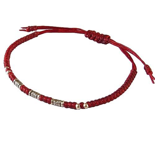LUN NA Asian Thai Vintage Art Handmade Bracelet Fashion Feather 925 Silver Red Waxed String Thailand