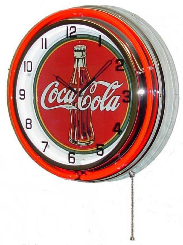 """Vintage 18"""" COCA COLA Metal Sign Neon Wall Clock Night ..."""