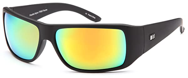Gamma Ray Stealth Polarized UV400 Flat Black Updated Wrap Sunglasses in Shatterproof Nylon Frame