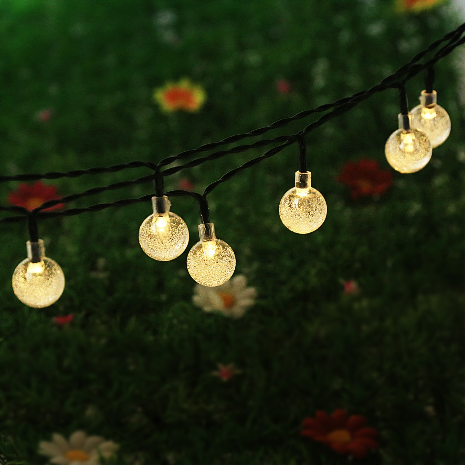 LED Crystal Ball Solar Powered Outdoor String Lights for Outside Garden Patio Party Christmas (Warm White)