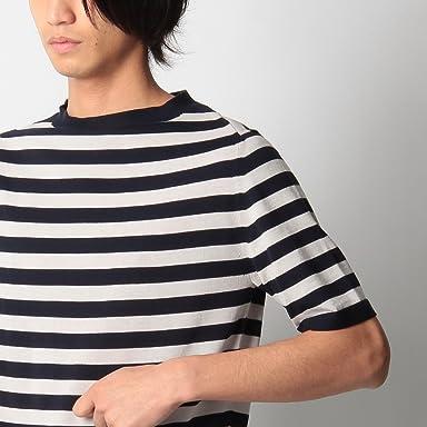Short Sleeve Cotton Stripe Sweater 086-16508: Navy