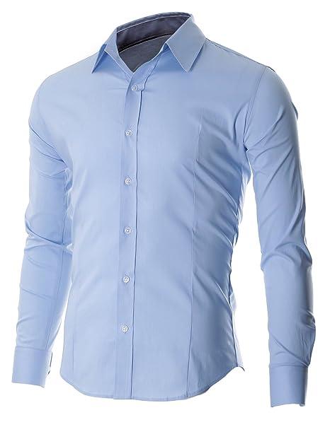 FLATSEVEN Men's Slim Fit Casual Button Down Dress Shirt Long Sleeve (FSH600) LightBlue, S