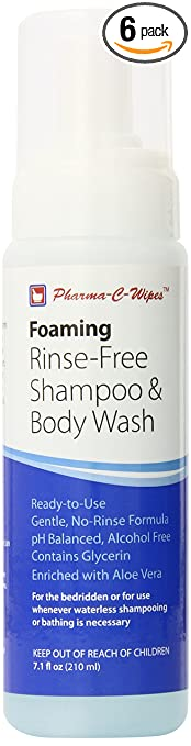 Pharma C Wipe Foaming No-Rinse Shampoo and Body Wash, Mild, 7.1 Fluid Ounce (Pack of 6)