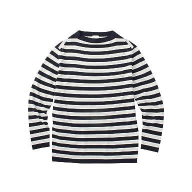 Cotton Stripe Sweater 086-16507: Navy