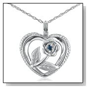 Sapphire Rose in Heart Necklace