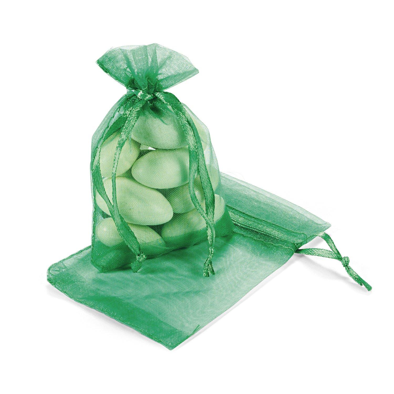 Mini emerald organza wedding favor bag