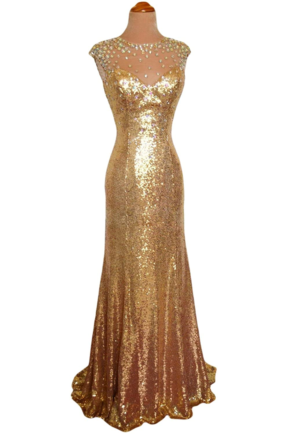 Sunvary Gold Jewel Mermiad Sequin Prom Dance Dress for Mother of the Bride