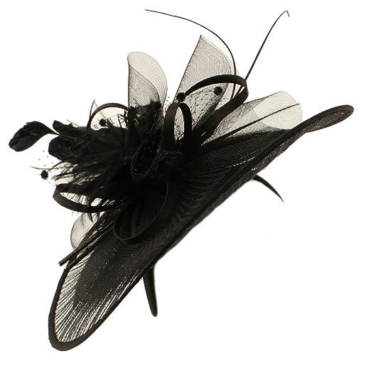 Big Kentucky Derby Feather Floral Organza Headband Fascinator Cocktail Hat Black