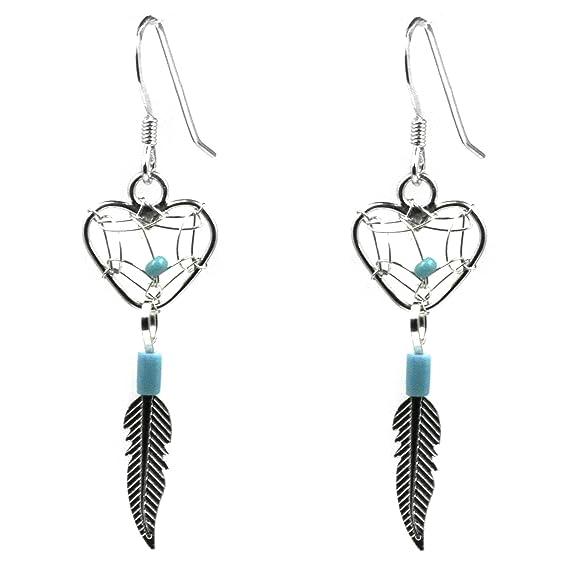 Dream Catcher Sterling Silver Turquoise Imitation Heart Earrings -- $25