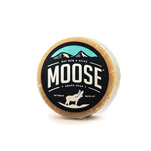 Moose Bay Rum Shaving Soap - Men's Natural Shave Soap Refill for Your Classic Safety & Straight Razor Shaving Kit / Set - 4 Oz Puck Is a Great Traditional Alternative to Shave Cream & Gel - Vitamin E and Shea Butter Provide Pre-Shave Moisturization