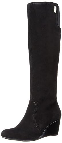 AK Anne Klein Women's Edenia Suede Knee High Boot, Black, 10.5 M US