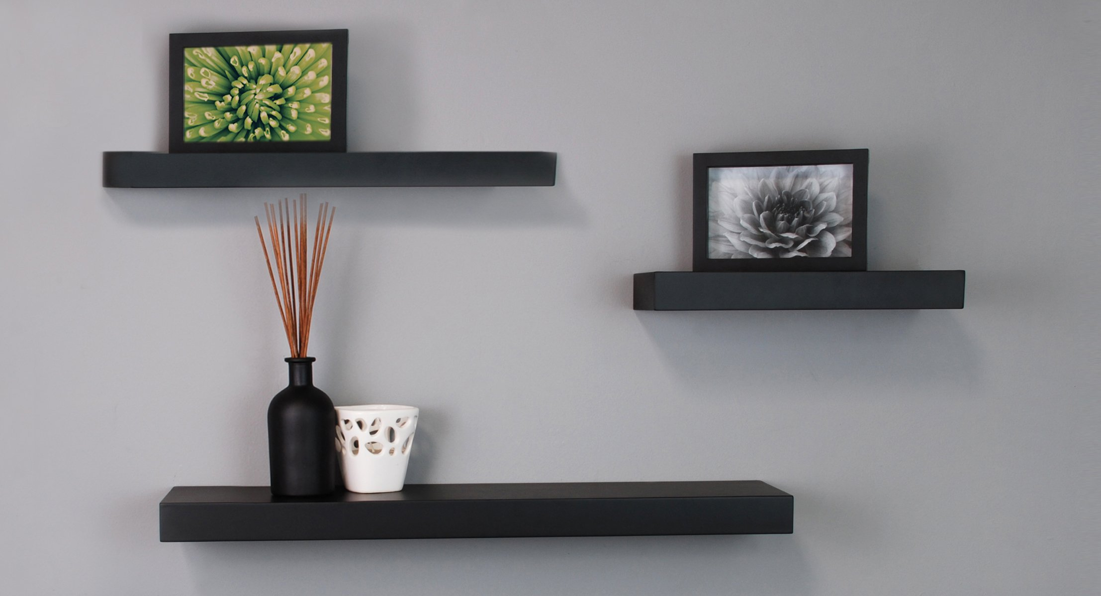 Black Floating Wall Shelves by nexxt