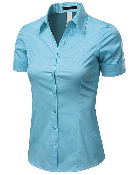 Doublju Women Short Sleeve Basic Simple Spandex Shirt,Skyblue,Medium
