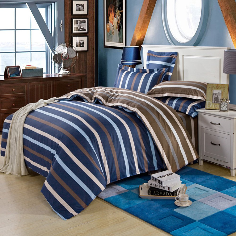 QzzieLife High Quality Microfiber 1500T 4pc Bedding Duvet Cover Sets  Striped Ink Blue Brown Size Full