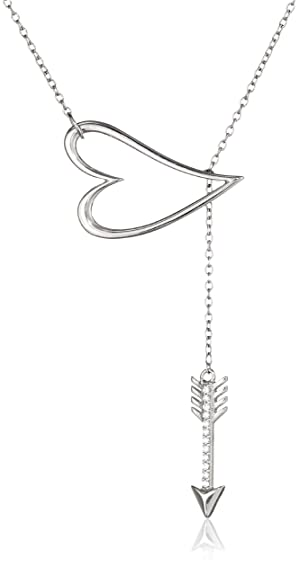 Sterling Silver Cubic Zirconia Open-Heart and Arrow Lariat Necklace, 16.5