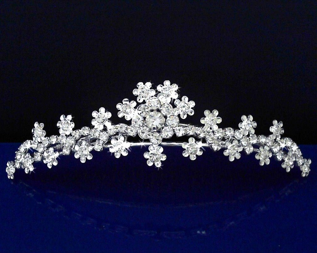 SC bridal Tiara Comb With Crystal Flowers 71643