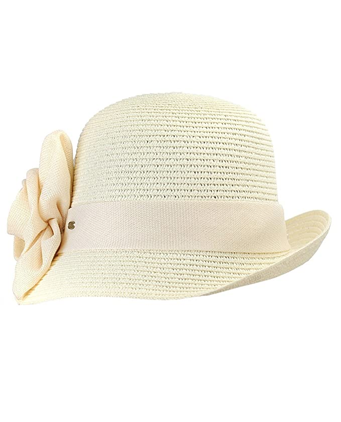 Retro Vintage Style Hats Paper Woven Cloche Hat with Flower Band $14.99 AT vintagedancer.com