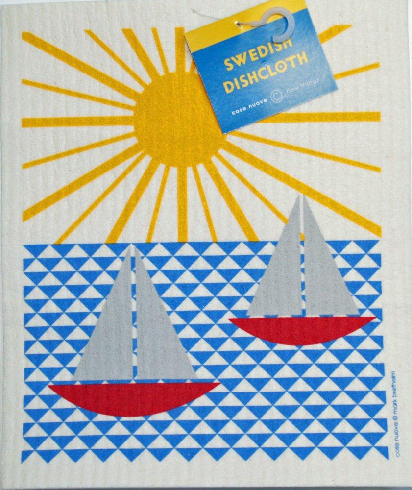 Swedish Dishcloth - Sailboats & Sun
