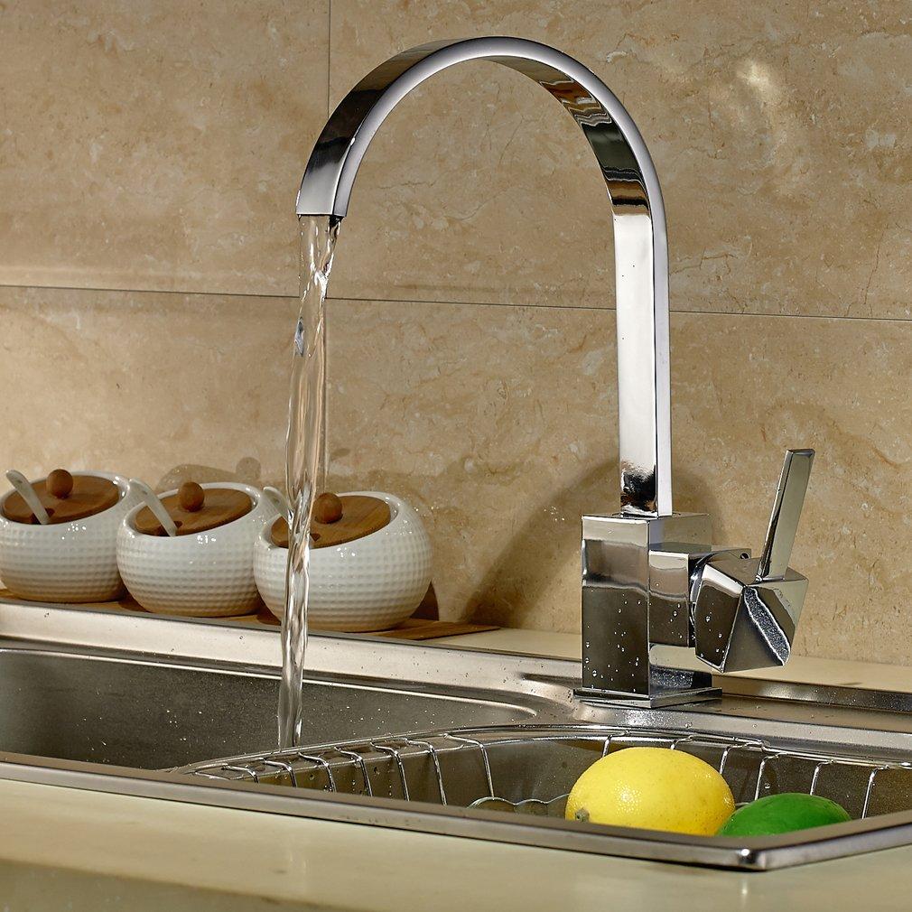 AURALUM® Niederdrucke Mischbatterie Wasserhahn Einhand Spültischarmatur Küchenarmatur Mit 3x Schläuche Für Boiler von Auralum