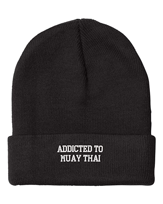 Fastasticdeal Addict Muay Thai Embroidered Beanie Cap